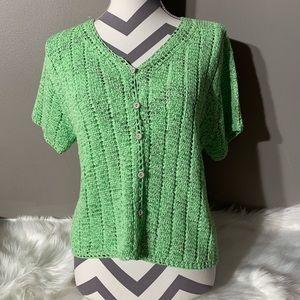 Sigrid Sport Olsen Size L Eyelet Crochet Cardigan